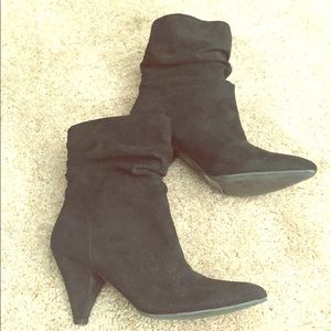 Suede ankle healed boots